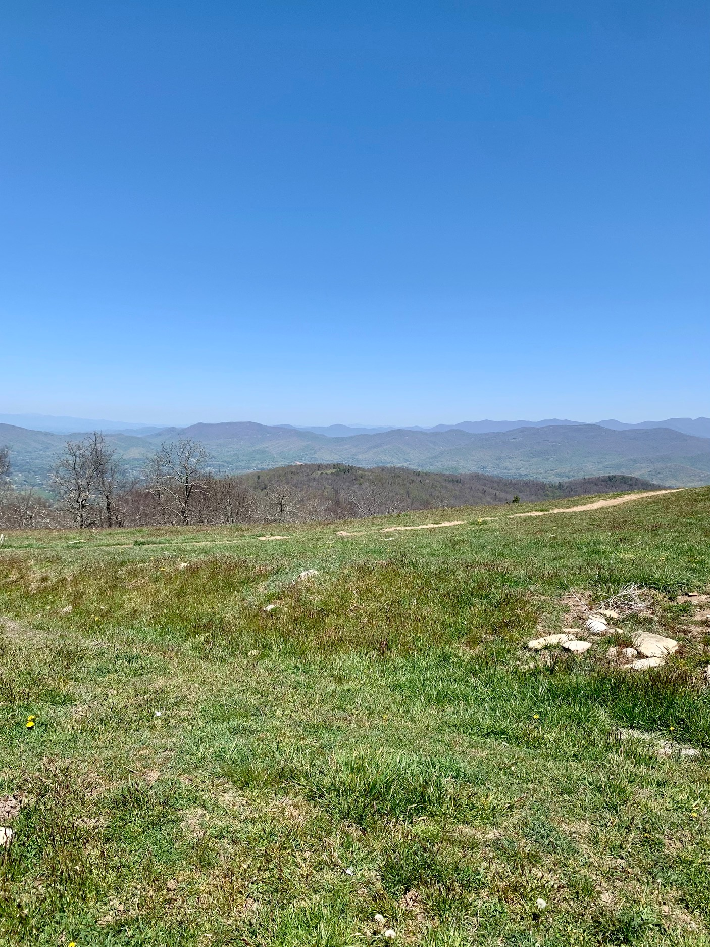 green grassy meadow with view of distance mountains and blue skies