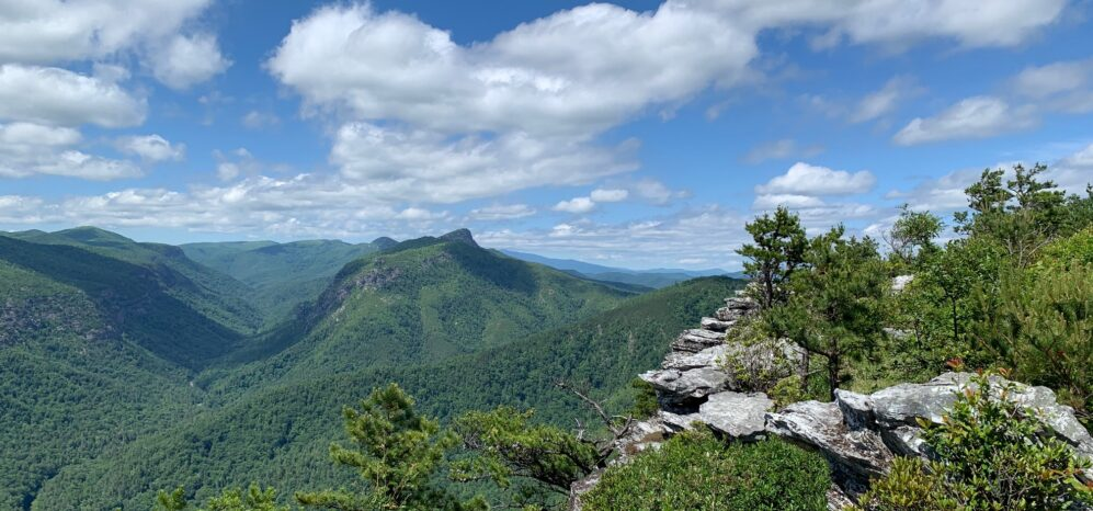 view of LInville Gorge, mountains, rock outcropping