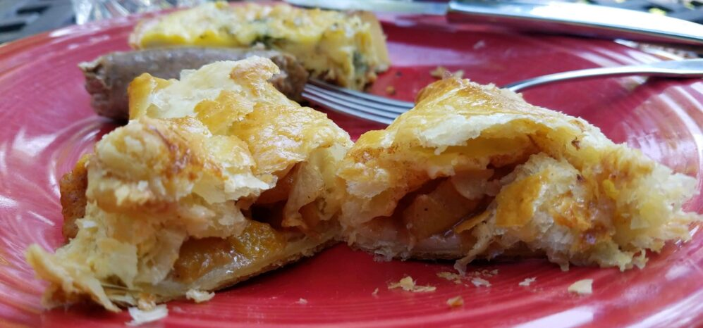 puff pastry with peaches on a plate